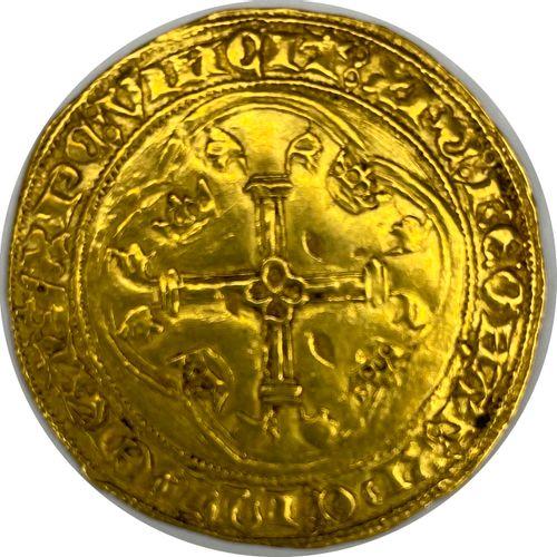 法国 查理七世(1422 1461)  1445年图尔奈的金盾牌与皇冠  A: 在两朵冠状百合花之间有法国的冠状盾牌  R:十字花科四裂的  状态:VG  重量…