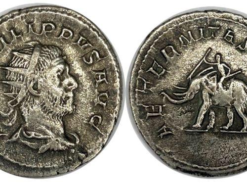 罗马 菲利普一世(1773 1850)  一个安东人  A: 腓力一世右侧有皇冠的半身像  R: 左边的大象  状态:VG  重量 : 3,93  材质: 比隆