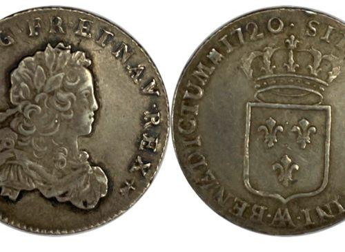 法国 路易十五(1715 1774)  1/3 法国埃居1720 AA (Metz)  A : 右侧为路易十五的少年头像  R:法国的皇冠盾牌  条件 : TT…