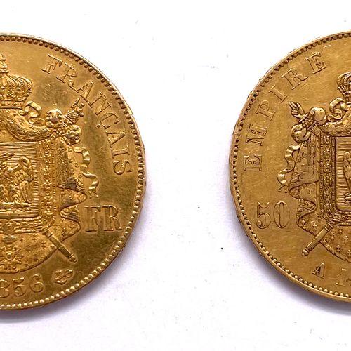 France Napoléon III (1852 1870)  Lot de deux monnaies de 50 Francs tête nue 1855…