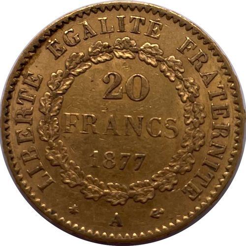 法国 第三共和国  A 20 Franc Genie 1877 A (巴黎)  答:右边的有翼精灵在法律表格上写字  R:封闭的橡木花环  材质 : 金900/…