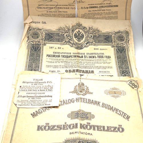 Lot comprenant une obligation d'emprunt russe de 187,50 roubles soit 500 francs …