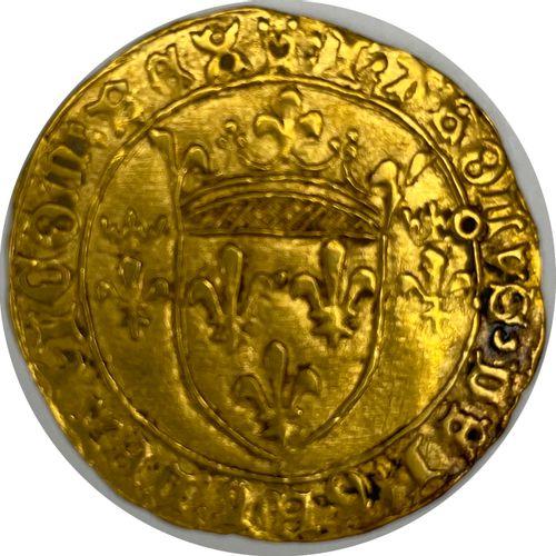 法国 查理七世(1422 1461)  带皇冠的金盾牌(图卢兹  A: 在两朵冠状百合花之间有法国的冠状盾牌  R:十字花科四裂的  条件 : TTB  重量:…