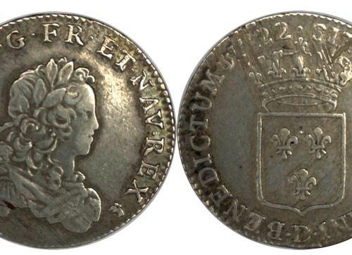 法国 路易十五(1715 1774)  法国1722年1/3的Écu D(里昂)。  A : 右侧为路易十五的少年头像  R:法国的皇冠盾牌  状态:VG  重…