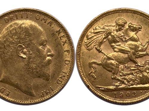 Angleterre Edouard VII (1901 1910)  Un Souverain 1903  A : Tête nue à droite de …