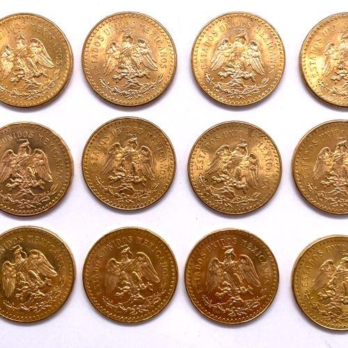 墨西哥  1947年12枚50比索硬币拍品  A: 胜利之翼的正面  R: 鹰的正面,张开翅膀,战胜了一条蛇  材质 : 黄金  重量 : 500,4 g