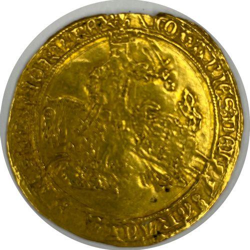 法国 善良的约翰二世(1350 1364)。  一个骑马的弗兰克  答:左边的马背上的国王拿着一把剑  R:有花和多叶的十字架  状况TB  重量:3,84克 …