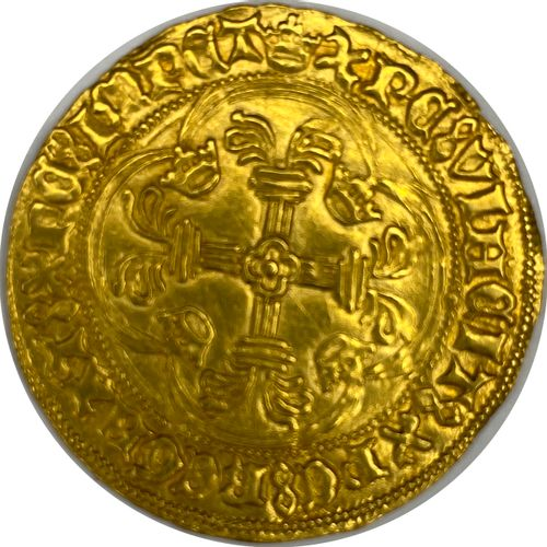 法国 查理七世(1422 1461)  一个带皇冠的金盾牌  A: 在两朵冠状百合花之间有法国的冠状盾牌  R:十字花科四裂的  条件 : TTB  重量:3.…