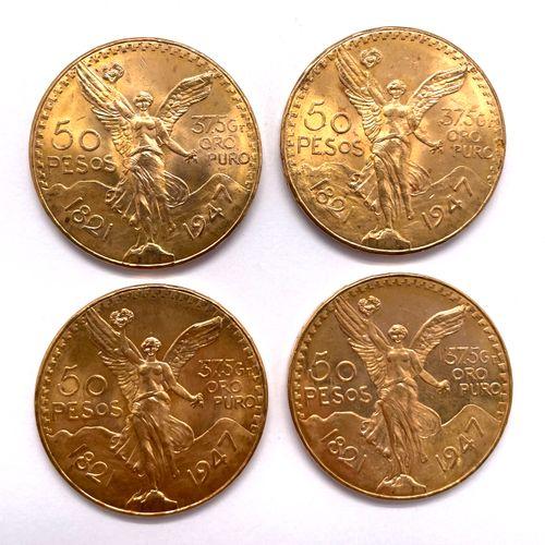 墨西哥  1947年四枚50比索硬币拍品  A: 胜利之翼的正面  R: 伸出翅膀的老鹰战胜了一条蛇  材质 : 黄金  重量 : 166,75 g