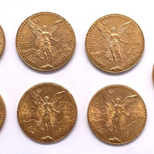 Mexique  Lot de sept monnaies de 50 Pesos 1946  A : La Victoire ailée de face  R…