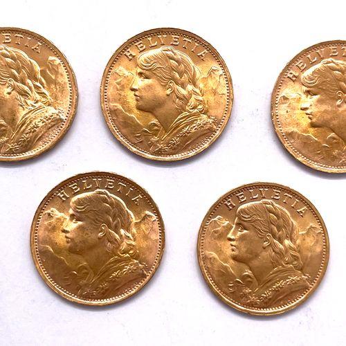 Helvétique  Lot de cinq monnaies de 20 Francs  A : Helvetia devant un massif alp…
