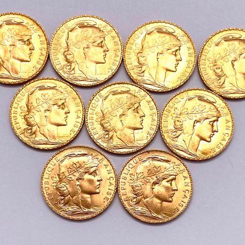 France Troisième République  Lot de neuf monnaies de 20 Francs Coq Marianne  A :…