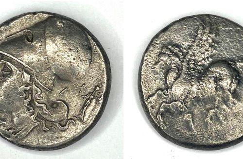 Corinthe – (350 306 av J.C)  Un Statère au Pégase  A : Tête d'Athéna à gauche co…