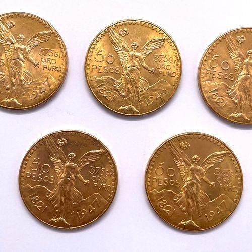 Mexique  Lot de cinq monnaies de 50 Pesos 1947  A : La Victoire ailée de face  R…