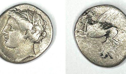 Corinthe – (350 339 av J.C)  Drachme au Pégase  A : Tête d'Aréthuse à gauche  R …