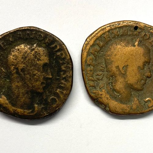 Rome – Alexandre Sévère (222 235)  Lot de deux Sesterces  A : Tête Laurée à droi…