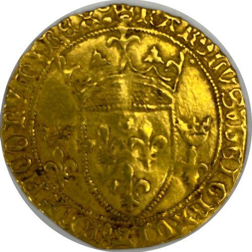 法国 查理七世(1422 1461)  带皇冠的金色盾牌(蒙彼利埃  A: 在两朵冠状百合花之间有法国的冠状盾牌  R:十字花科四裂的  条件 : TTB  重…