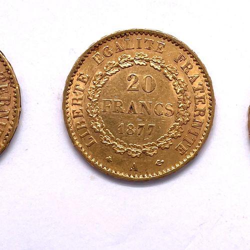 法国 第三共和国  三枚20法郎精灵硬币(1877 A, 1898 A x 2)  A : 右边有翅膀的精灵在法律表格上写字  R:封闭的橡木花环  材质 : …
