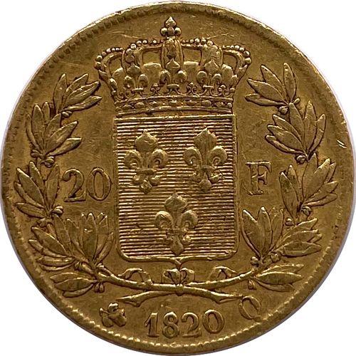 France Louis XVIII (1814 1824)  Une monnaie de 20 Francs 1820 A (Perpignan)  A :…