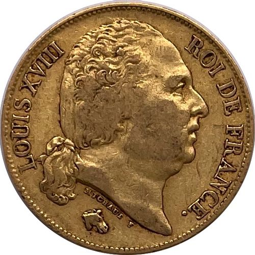 法国 路易十八(1814 1824)  1822年A类20法郎硬币(巴黎)。  A : 路易十八右侧的裸体半身像  R: 法兰西王室的女王  状态:VG  重量…