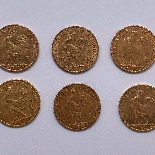 France Cinquième République  Lot de dix monnaies de 20 francs Coq Marianne  A : …