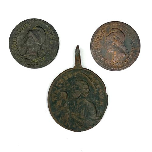 世界 杂项  第6年和第8年两枚1分硬币的拍品  为此我们加入了一个宗教奖章