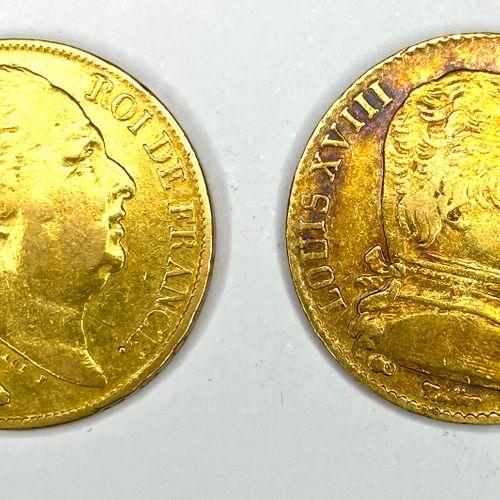 法国 路易十八(1815 1824)  1815年和1820年两枚20法郎硬币拍品A(巴黎  A : 路易十八的右半身像  R:法国的皇冠盾牌  状态:VG  …