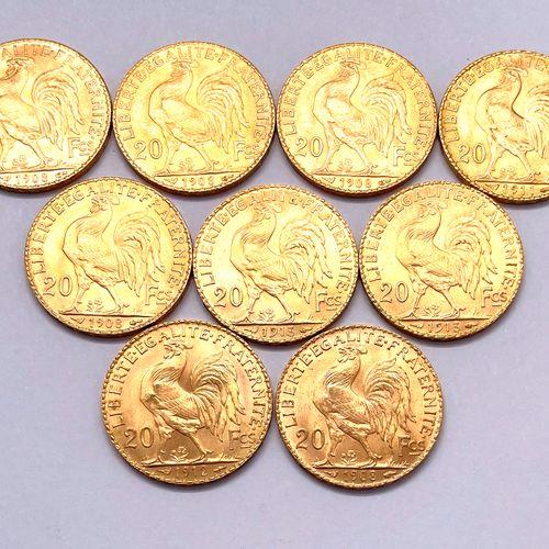 法国 第三共和国  一批9枚20法郎的Coq Marianne硬币  A : 玛丽安右侧的头部,戴着弗里吉亚帽  R : 公鸡在左边  条件 TTB +  毛重…
