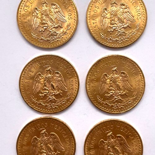 墨西哥  十枚1943年50比索硬币拍品  A: 胜利之翼的正面  R: 伸出翅膀的老鹰战胜了一条蛇  材质 : 黄金  重量:416.9克