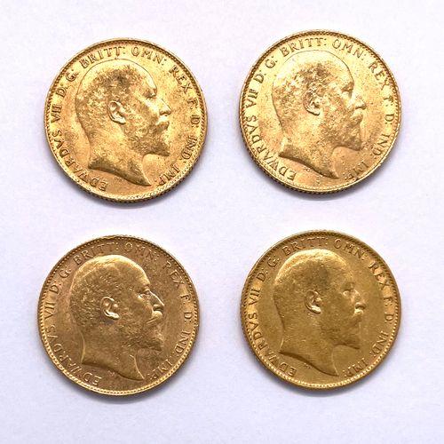 Angleterre Edouard VII (1901 1910)  Lot de quatre monnaies Souverain  A : Tête n…