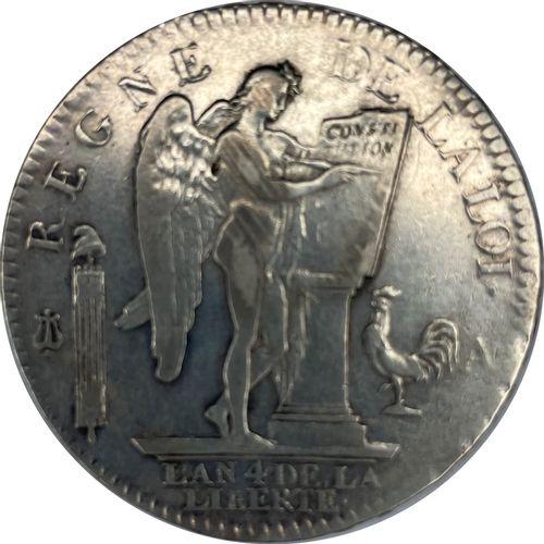 法国 路易十六(1774 1792)  一个6磅的Ecu 1792 L  答:左边是路易十六的裸体半身像  R:有翼的精灵,在法律桌上写字  状态:VG  重量…