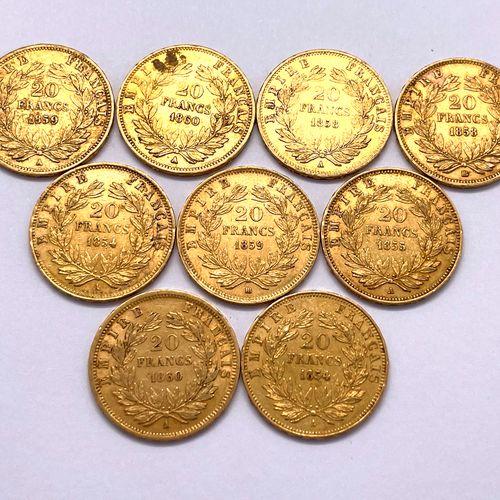 法国 拿破仑三世(1808 1873)  九枚20法郎拿破仑三世光头硬币拍品  A : 拿破仑三世右侧的裸体头像  R:开放式月桂花环  状况TB  毛重:57…