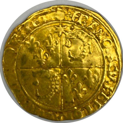France – François Ier (1515 1547)  Un Écu d'or  A : Champ quadriparti du Dauphin…