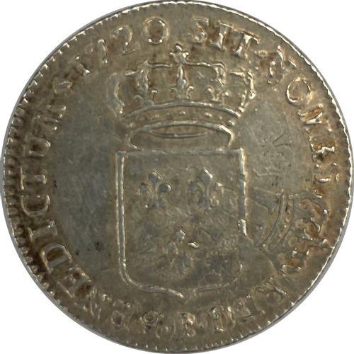 法国 路易十五(1715 1774)  1/3 法国埃居1720 B (鲁昂)  A: 少年头像,右边是路易十五的桂冠  R:法国的皇冠盾牌  条件 : TTB…