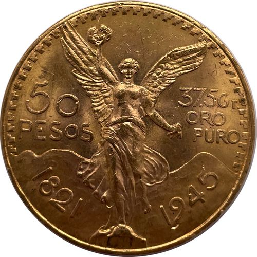 Mexique  Une monnaie de 50 Pesos 1945  A : La Victoire ailée de face  R : Aigle …