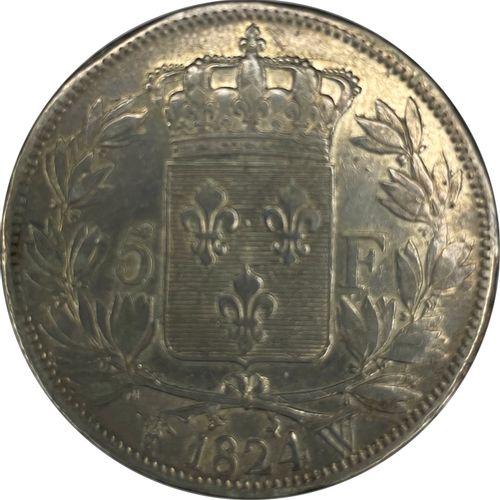 法国 路易十八(1815 1824)  A 5 Francs Ecu 1824 W (Lilles)  A: 路易十八的左侧裸体半身像  R:法国的皇冠盾牌  …
