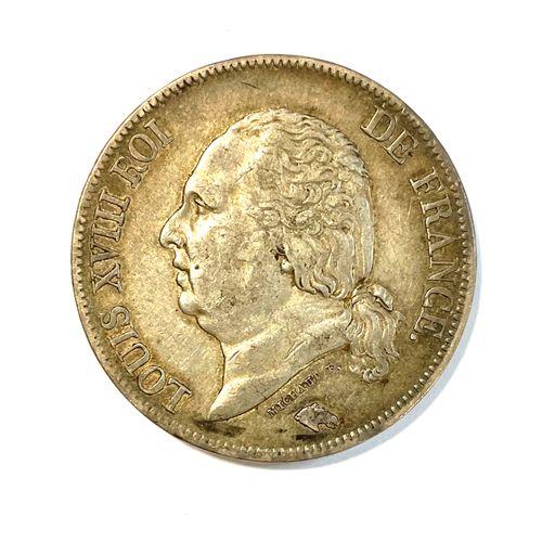 France – Louis XVIII (1815 – 1824)  Un Ecu de 5 Francs 1823 A (Paris)  A : Buste…