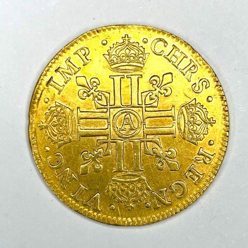 法国 路易十三(1610 1643)  A Louis d'or 1640 A (巴黎)  答:右边是路易十三的桂冠头像  R: 8个有冠的L  状态:VG (…
