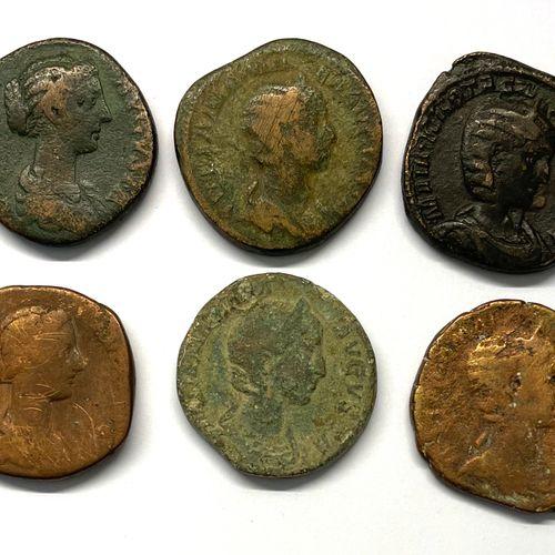 罗马 各种  一批六件塞斯特尔斯,其中特别包括一件克里斯皮纳的塞斯特尔斯(A:克里斯皮纳右边的头戴发髻;R:左边坐着的维纳斯)。  B TB国家  重量在17.…