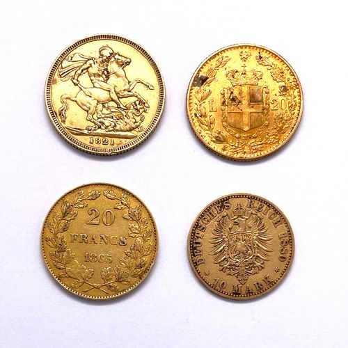 世界 杂项  一批四枚硬币,包括:   A 20法郎 比利时国王利奥波德一世 1865年   A 20里拉 意大利国王翁贝托一世 1882年   A 10 Ma…
