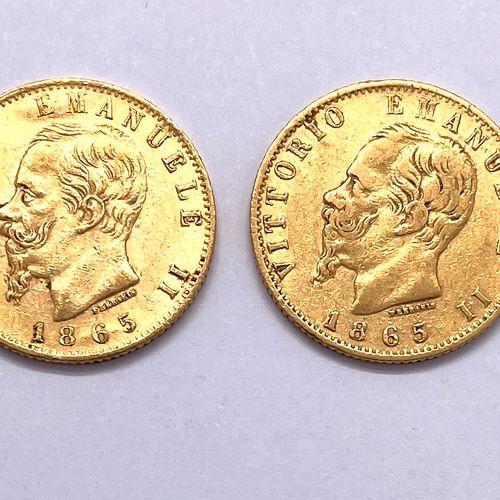 意大利 维托里奥 埃马努埃莱二世 (1861 1878)  两枚20里拉硬币拍品  A : 维托里奥 埃马努埃莱左侧的裸体头像  R : 萨沃伊的王室成员  状…