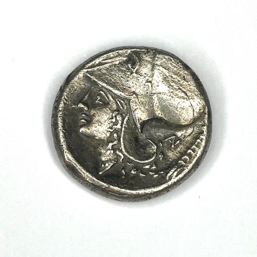 科林斯的殖民地 (公元前350 306)。  与珀加索斯的关系  A : 雅典娜头像在左边,戴着科林斯头盔  R:飞马在左边飞行  条件 : B  重量:8.2…