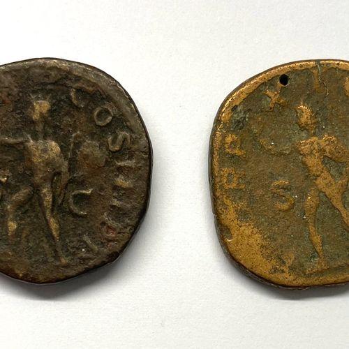 罗马 亚历山大 塞维鲁(222 235)  一批两枚塞斯特尔硬币  A : 亚历山大 塞维鲁右侧的桂冠头像  R:太阳在左边行走  状态: B TB  重量:1…