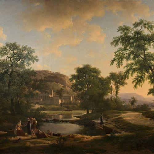 NICOLAS DIDIER BOGUET (1755 1839) PAYSAGE D'ARCADIE AVEC UNE  DISEUSE DE BONNE A…