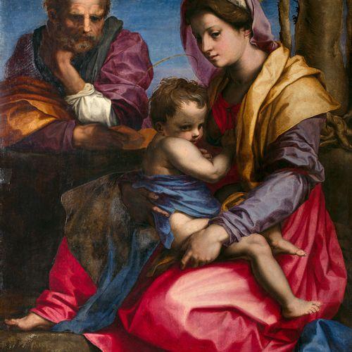 Ecole FLORENTINE vers 1580, atelier d'Andrea Del Sarto LA SAINTE FAMILLE  Pannea…