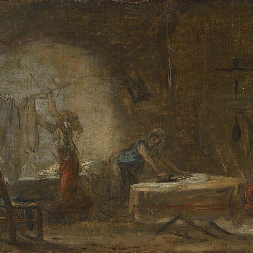 *ECOLE FRANÇAISE VERS 1780, ENTOURAGE D'HUBERT ROBERT LES REPASSEUSES  Toile et …