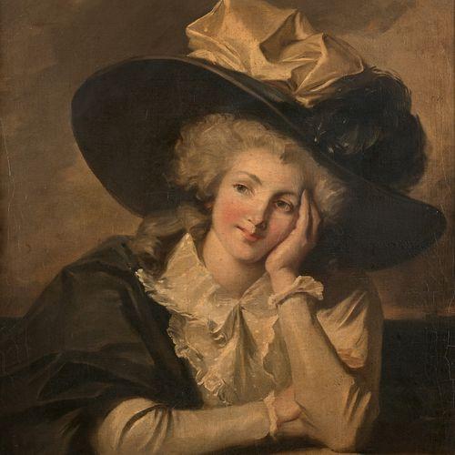 ATTRIBUÉ À JOHN HOPPNER (1758 1810) PORTRAIT D'ÉLÉGANTE AU CHAPEAU  Toile  81 x …