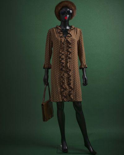 CARVEN HAUTE COUTURE 1980's Robe volantée  en crêpe de soie imprimée à décor de …