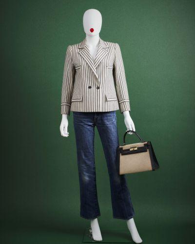 CARVEN HAUTE COUTURE 1970/80's Tailleur  en lainage rayé noir et blanc : VESTE c…