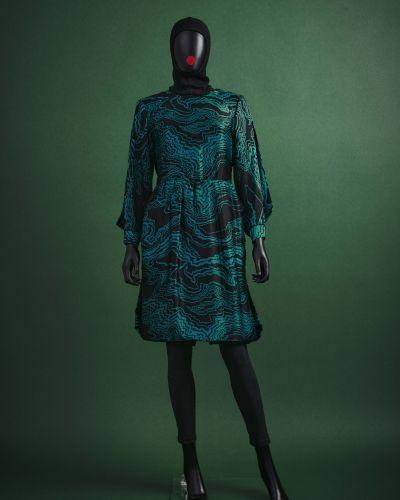 CARVEN HAUTE COUTURE 1980/90's Robe  en satin de soie noir imprimé d'un motif ab…
